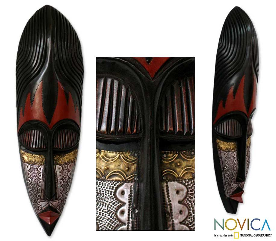 Sese Wood and Aluminum 'Fulani Maiden' African Mask (Ghana)