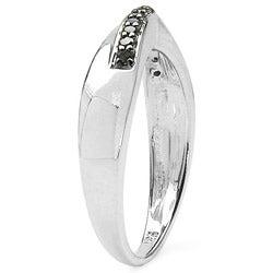 Malaika Sterling Silver 1/10ct TDW Black Diamond Ring