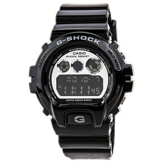 Casio Men's 'G Shock' Quartz Silver Dial Black Band Digital Watch