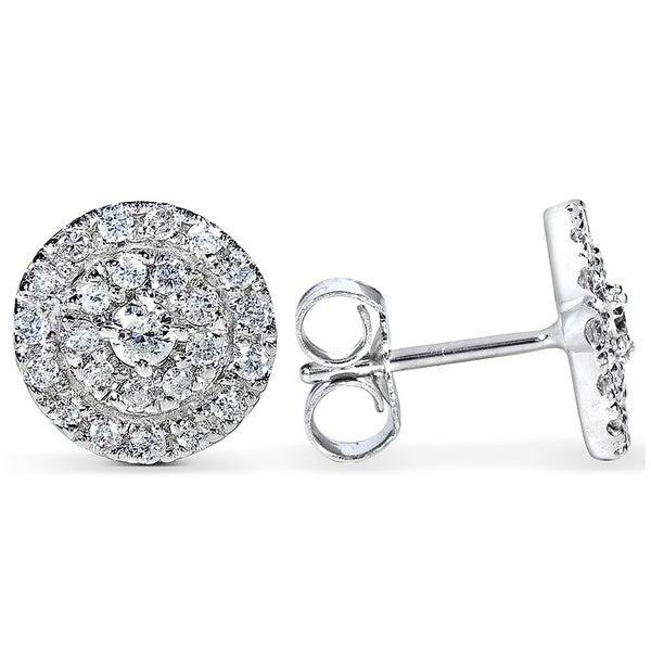 Annello 14k White Gold 1/2ct TDW Diamond Halo Earrings(H-I, I1-I2)