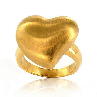 Stainless Steel Goldtone Brushed Heart Ring