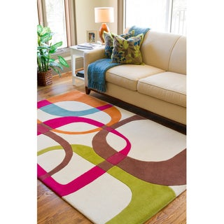 Hand-tufted Ivory Contemporary Multi Colored Squares Georgia New Zealand Wool Geometric Rug (5' x 8'