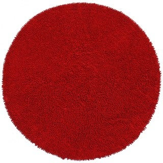 Hand-woven Shagadelic Red Chenille Rug (3' Round)