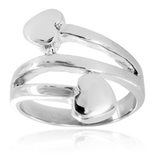 Stainless Steel Polished Double Hearts Band