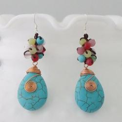 Copper Colorful Wrap Multi-gemstone Earrings (Thailand)