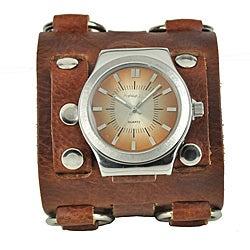 Nemesis Men's Wide Sunrise Leather Cuff Watch