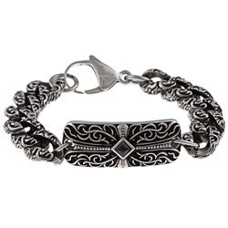 Stainless Steel Men's Onyx Cross ID Bracelet