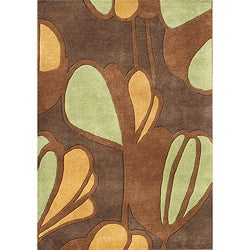 Large Alliyah Handmade New Zealand Blend Brown Wool Rug (8' x 10')