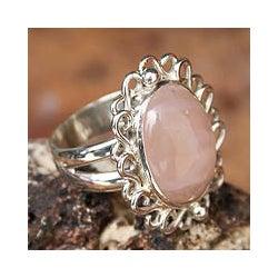 Sterling Silver 'Pink Blossom' Rose Quartz Ring (Peru)