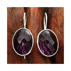 Handcrafted Sterling Silver 'Love Song' Amethyst Earrings (India)