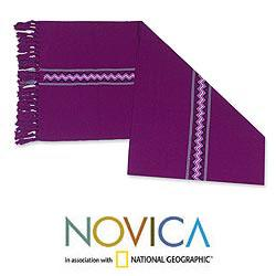 Handcrafted Cotton 'Jungle Orchid' Table Runner (Guatemala)