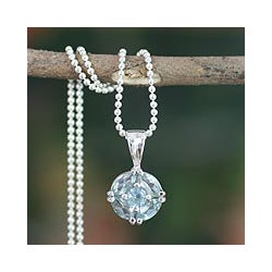Handcrafted Sterling Silver 'Jaipur Star' Blue Topaz Necklace (India)