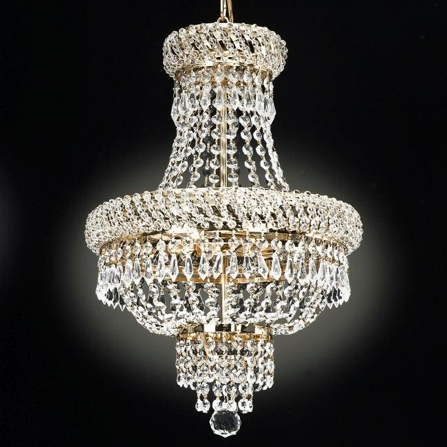 Gallery Empire Goldtone Crystal 3-light Chandelier