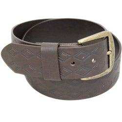 Entourage Men's Embossed Diamond Brown Leather Belt