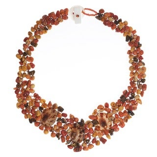 Brown Limpet Sea Shell and Multi-gemstone Necklace (Philippines)