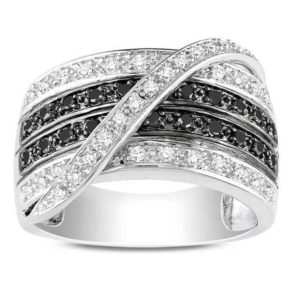 Haylee Jewels Sterling Silver 1/2ct TDW Black and White Diamond Ring (G-H, I3)