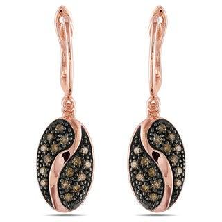 Pink Silver 1/3ct TDW Brown Diamond Earrings