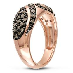 Haylee Jewels Pink Silver 1/2ct TDW Brown Diamond Ring