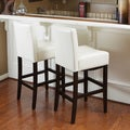 Christopher Knight Home Set of Two Cream Wood/Leather Bar Stools (41.73 x 23.62 x 17.72)