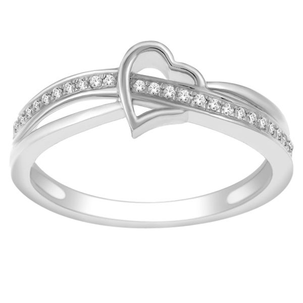 De Couer 10k White Gold 1/10ct TDW Diamond Heart Promise Ring (H-I, I2-I3)