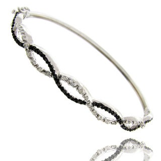 Finesque Black and Silvertone Diamond Accent Infinity Bangle Bracelet