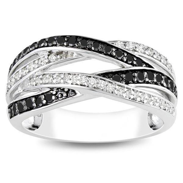 Haylee Jewels Sterling Silver 7/8ct TDW Black and White Diamond Ring (G-H, I3)