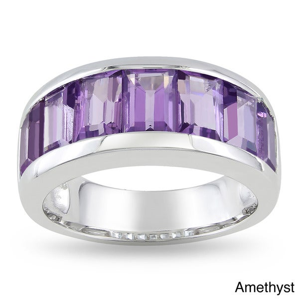 Miadora Sterling Silver Baguette-cut Gemstone Band Ring