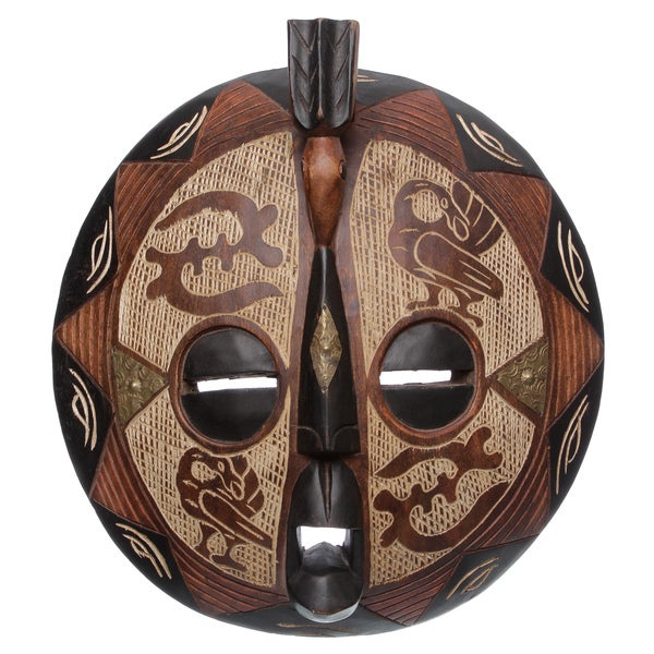 Sese Wood XLarge Bakota Colorful Bird Mask (Ghana)