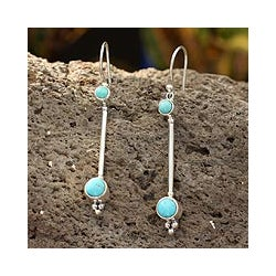 Sterling Silver 'Friendship Sparkles' Turquoise Drop Earrings (Mexico)