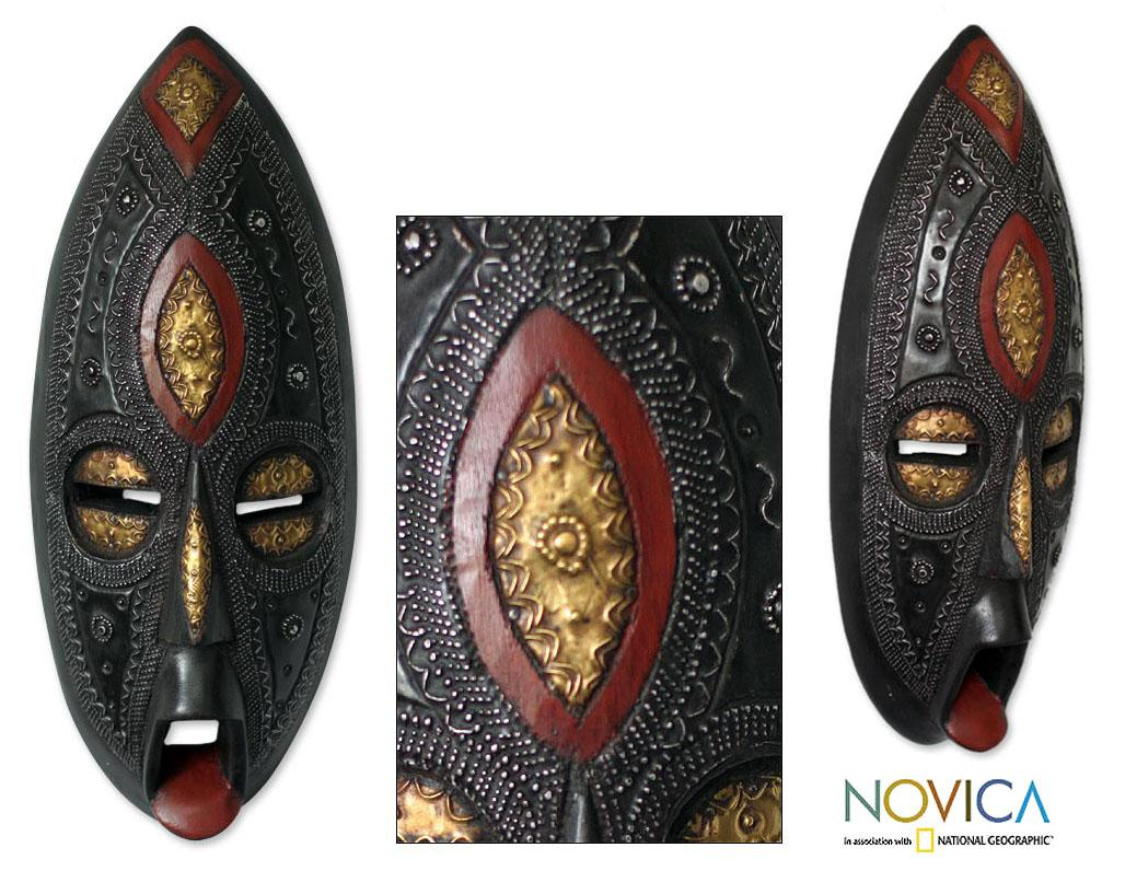 Handcrafted Sese Wood 'Be Faithful' African Mask (Ghana)