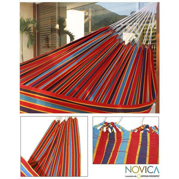 Cotton 'Carnival Rainbow' Hammock (Brazil)