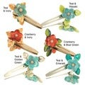 Ardent Designs Glass Beads Flower Hair Clips (Set of 2)
