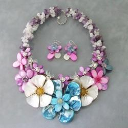Shell Eye Candy Pearl/ Multi-stone Floral Jewelry Set (6 mm) (Thailand)