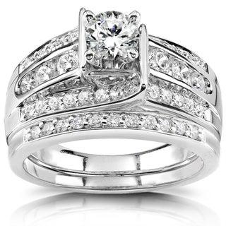 Annello 14k White Gold 1ct TDW Diamond Bridal Ring Set (H-I, I1-I2)