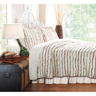 Bella Multicolor Ruffled Floral-print Oversized 3-piece Cotton Quilt Set