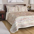 Bella Multicolor Ruffled Floral-print Oversized 3-piece Cotton Quilt Set