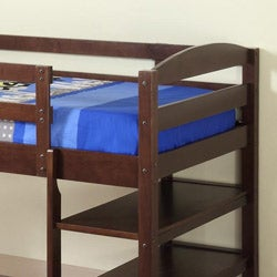 Solid Wood Espresso Twin-size Loft Bed with Desk