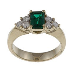 FJC 14k Gold Created Emerald and 2/5ct TDW Diamond Ring (H-I, I1-I2)