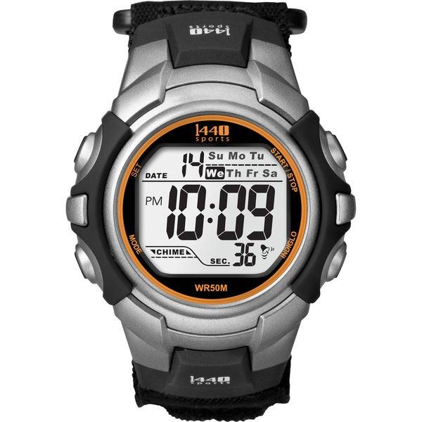 Timex Men's T5K455 1440 Sports Digital Black/Silvertone/Orange Watch