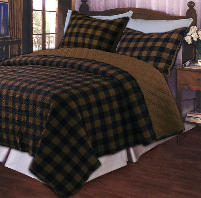 Greenland Home Fashions Western Plaid Brown Cotton Oversize 3-Piece Quilt Set
