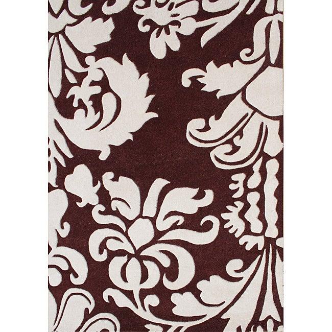 Alliyah Handmade Burgundy New Zealand Blend Wool Rug (8' x 10')