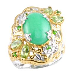 Michael Valitutti Two-tone Green Jade, Peridot and Chrome Diopside Ring