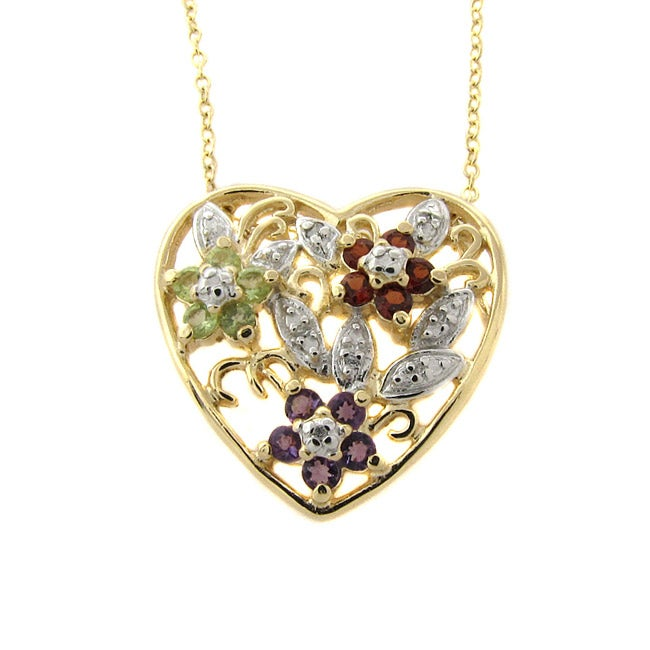 Dolce Giavonna 14k Gold Overlay Gemstone and Diamond Accent Heart Necklace