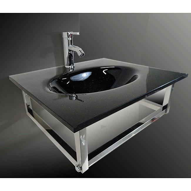Stainless Steel Tempered Glass Bathroom Vessel Sink and Faucet