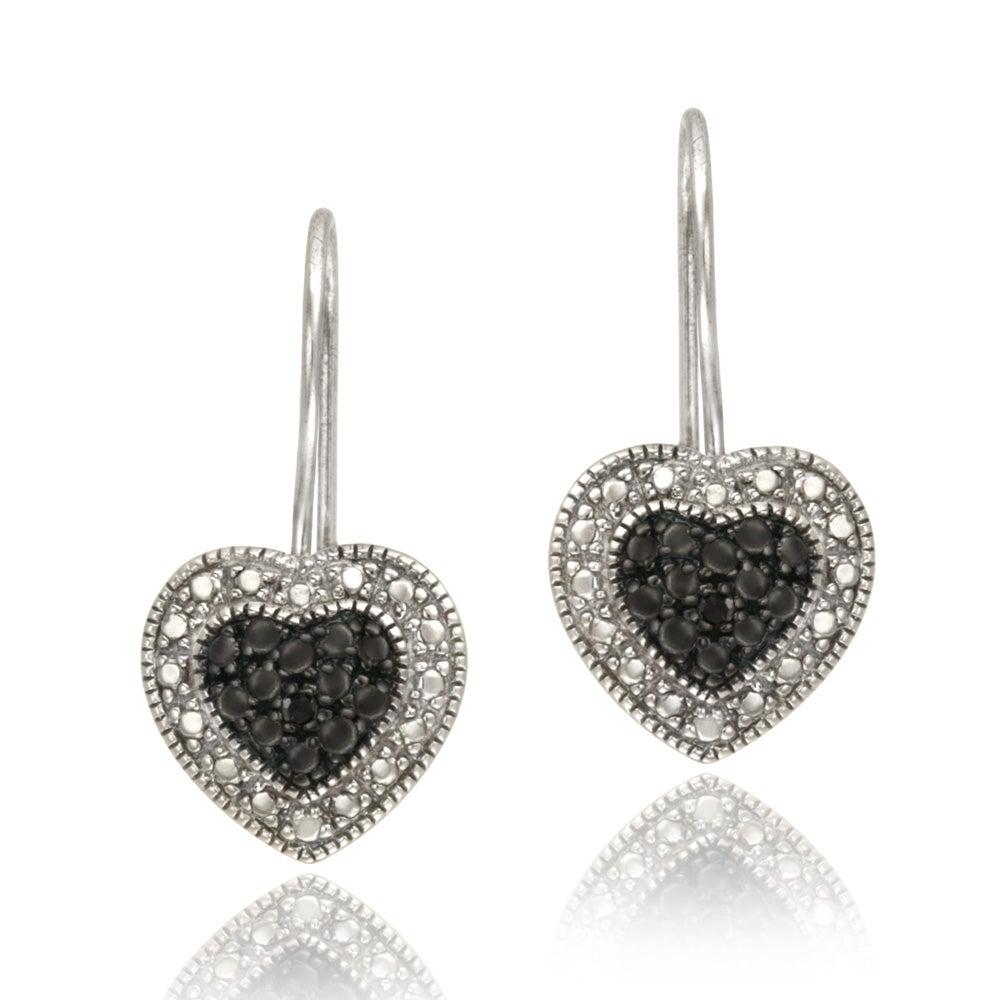 DB Designs Sterling Silver Black Diamond Accent Heart Dangle Earrings