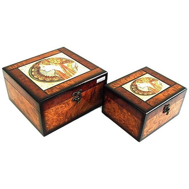 Decorative Jewelry & Keepsake Box with Classic Greek Queen (Set of 2)