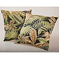 Black Tropical Foliage Outdoor Decorative Pillows (Set of 2)