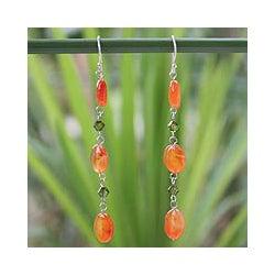 Sterling Silver 'Tangerine Marmalade' Carnelian Drop Earrings (Thailand)
