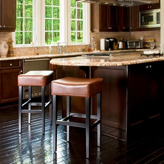 Christopher Knight Home Hazelnut Leather Backless Barstools (Set of 2)