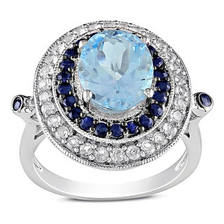 Miadora Sterling Silver Blue Topaz, Black and Created White Sapphire Ring
